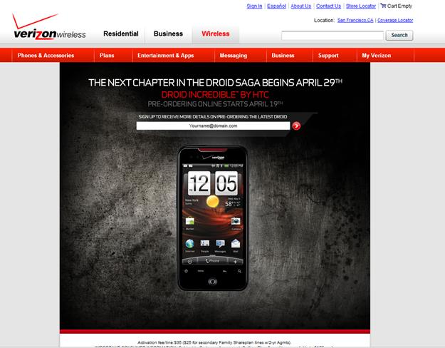 Verizon Droid page