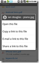Long-tapping on a file