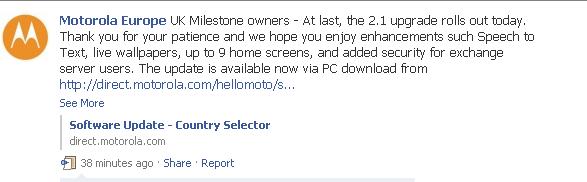 Motorola Milestone UK Android 2.1 update