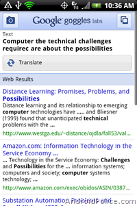 Google Goggles translate OCR