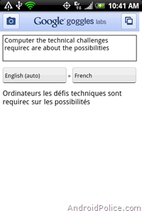 Google Goggles translate OCR