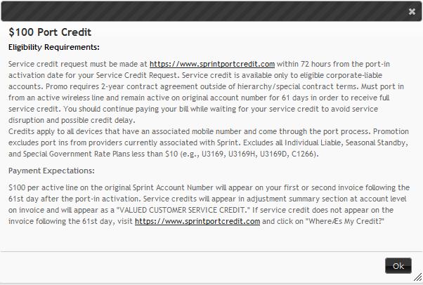 Sprint $100 port credit