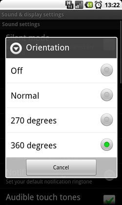 orientation settings