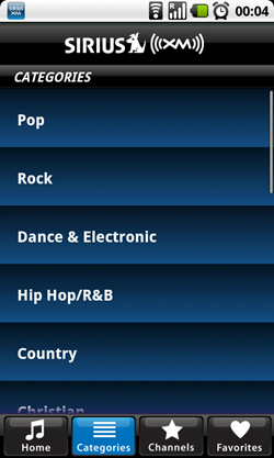 sirius android categories