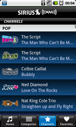 sirius android channels