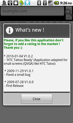 1 - Whois - starting the app shows you a changelog and request for a user rating