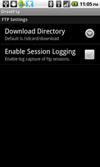 3 - DroidFtp - core configuration settings