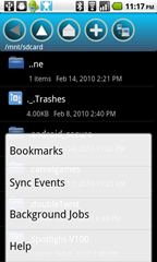 3 - Fsync - expanded submenu from home screen