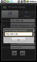 5 - AndFtp - prompt to save profile with a name