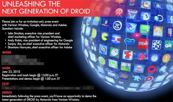 "Mark Your Calendars: Motorola, Verizon, Google, And Adobe Set To ""Unleash The Next Generation Of Droid"" - Is Froyo Also Joining The Party?"
