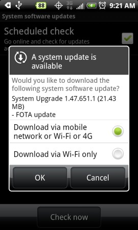The Promised EVO 4G OTA v1.47.651.1 Is Here - Not Froyo