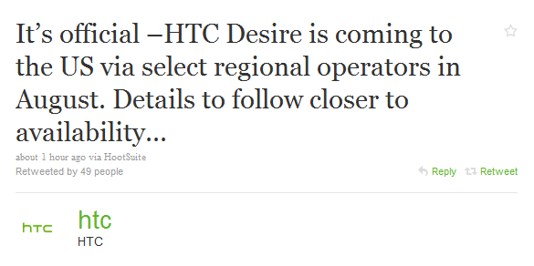 HTC Desire Coming To The US In August