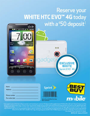 White HTC EVO 4G Coming Exclusively To Best Buy July 11th, Sprint Stores August 8th - Preorders Open Now
