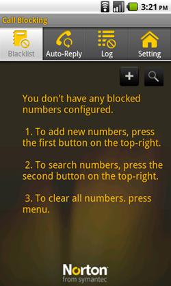 android norton call blacklist