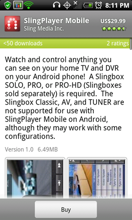 Sling Player Mobile For Android Goes Live Early - Available On The Android Market Immediately For $30