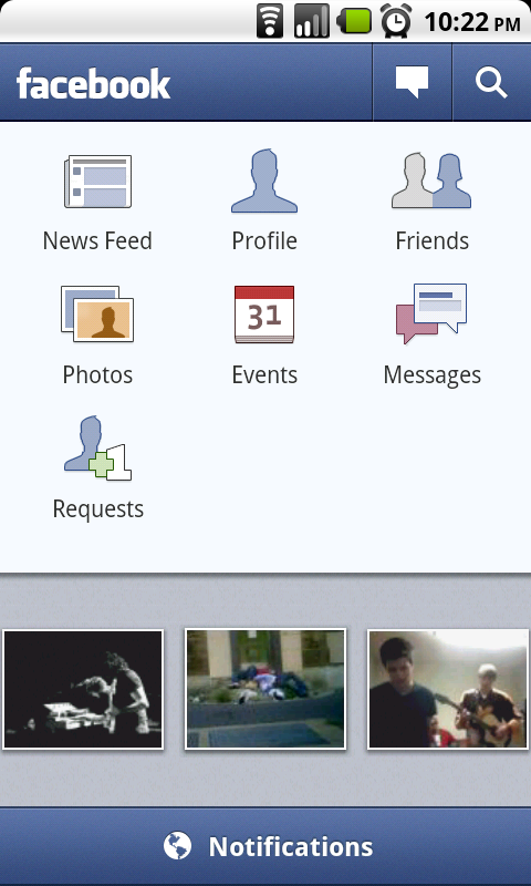 The old facebook mobile