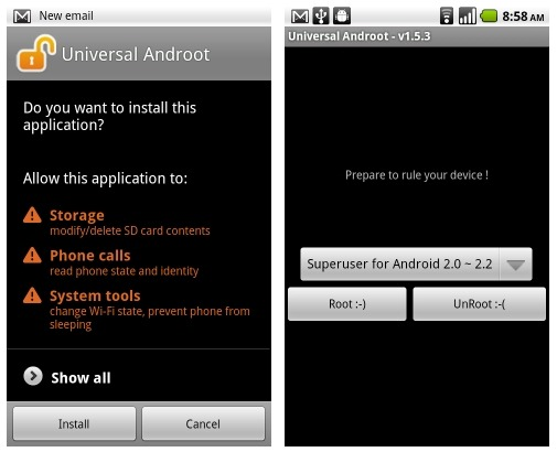 universal androot app offers one click root on a multitude of