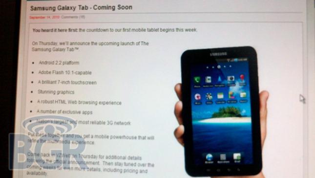 BGR Galaxy Tab Leak