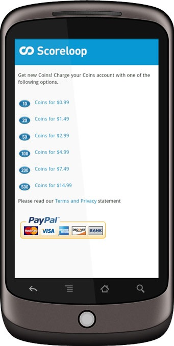 Scoreloop PayPal Android