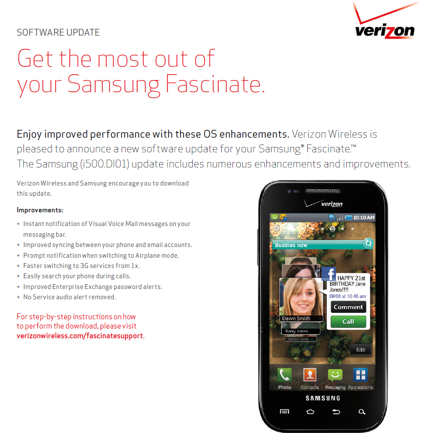 verizon releases manual minor update for samsung fascinate rh androidpolice com Verizon Samsung Fascinate Specs Verizon Samsung Fascinate Phone