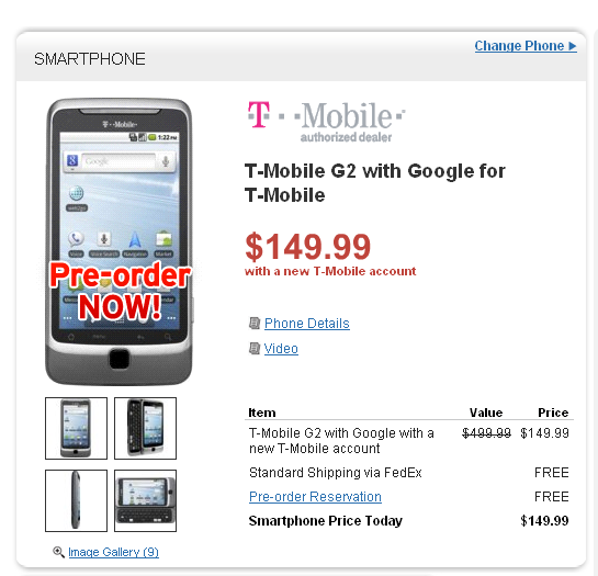 Wirefly Launches T-Mobile G2 Preorders, Bests The