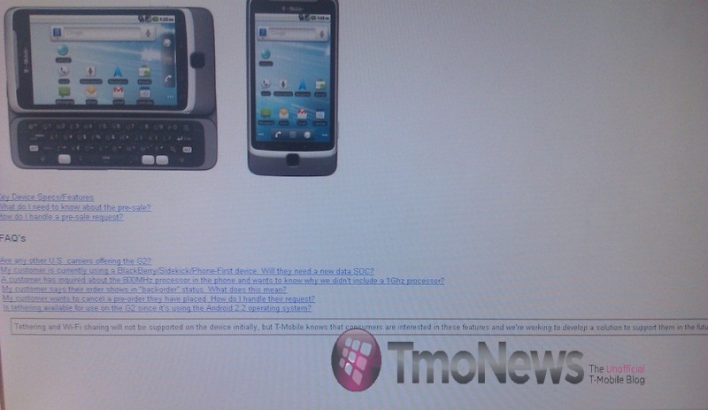 T-Mobile G2 Will Not Support Tethering At Launch, But T