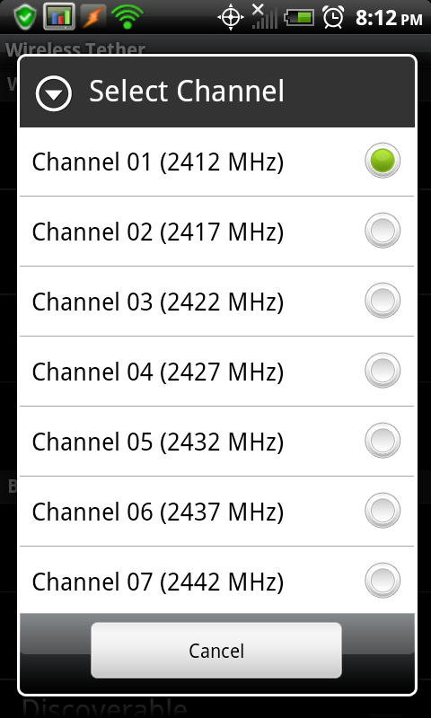 Android tethering wifi channel