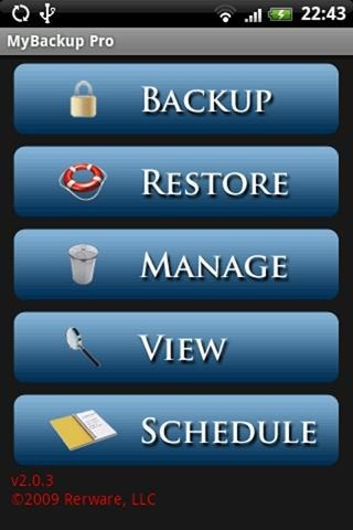 MyBackup Root (screen 1)