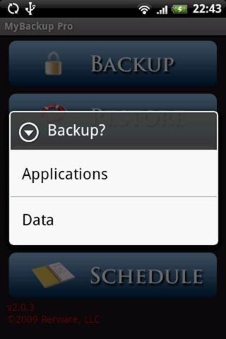 MyBackup Root (screen 2)