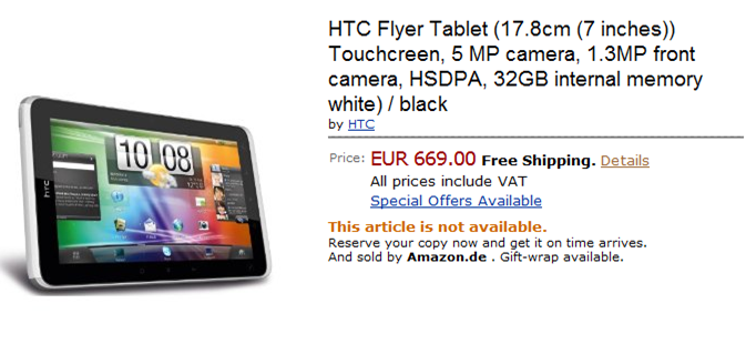 HTC Flyer Amazon Page