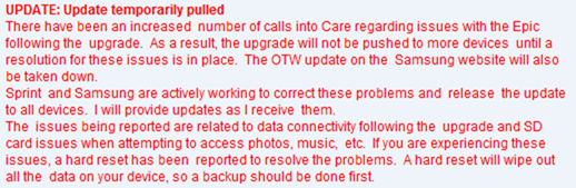 Sprint epic froyo update cancelled