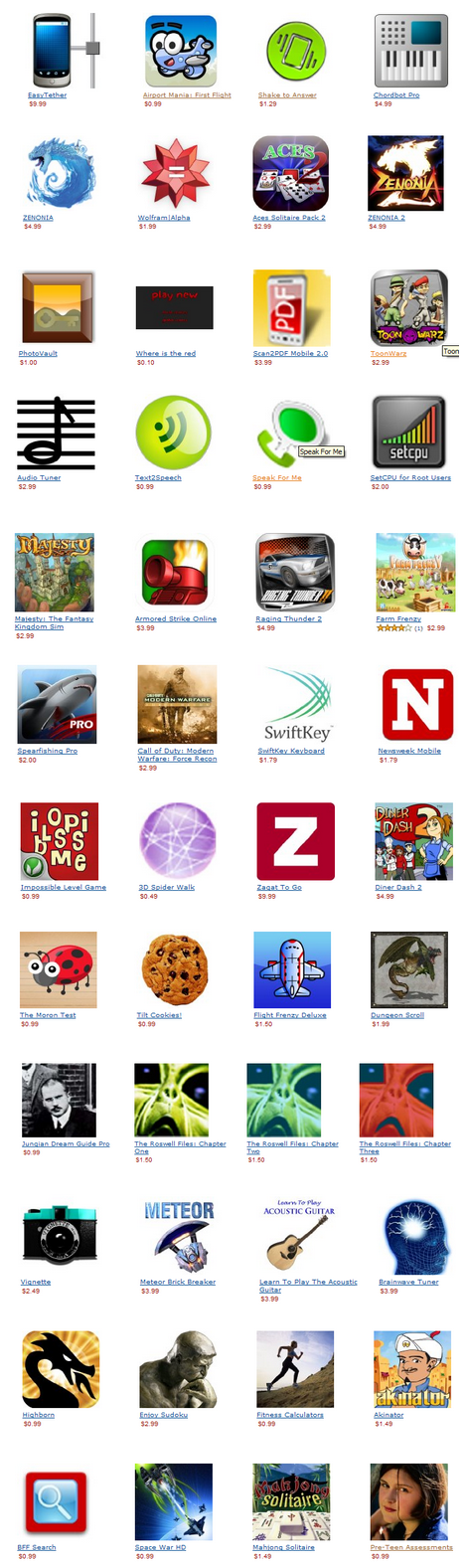 Amazon Appstore- Apps and Prices Leak