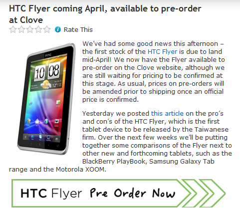 HTC Flyer coming April, available to pre-order at Clove « Clove Technology's Blog