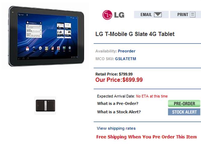LG T-Mobile G Slate 4G Tablet at MobileCityOnline.com