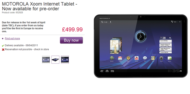 MOTOROLA Xoom Internet Tablet - Now available for pre-order at cheap prices - PC World