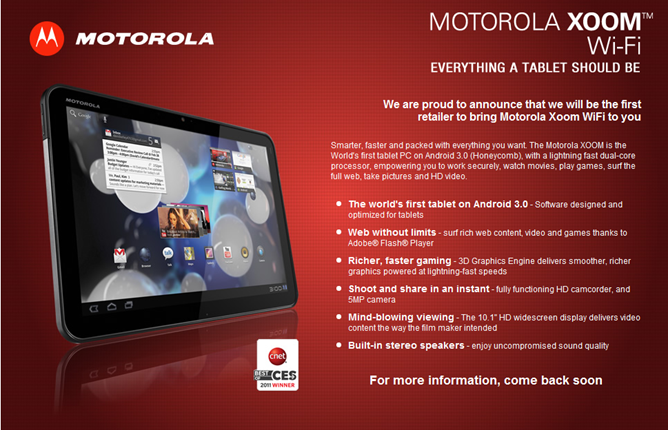 Motorola Xoom tablet PC - new Android internet tablet at PC World