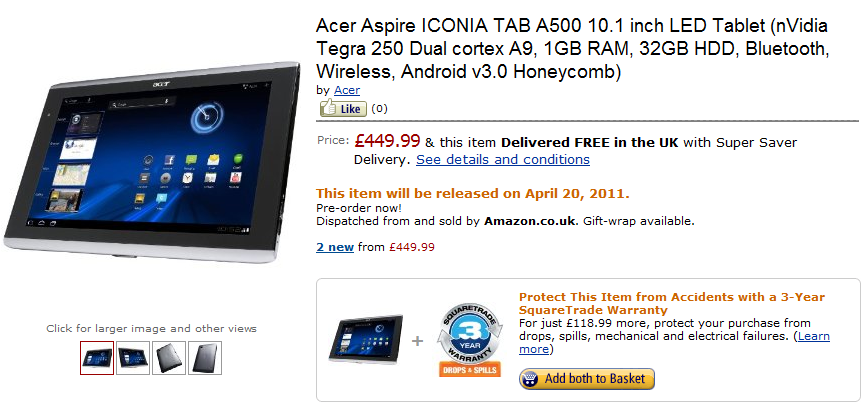 """Honeycomb On A Budget: 7 and 10"""" Acer Aspire ICONIA TAB A100/A500 Pre-Order  On Amazon UK"""