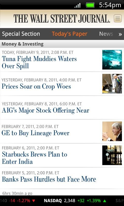 New App] The Wall Street Journal Has Finally Come To Android