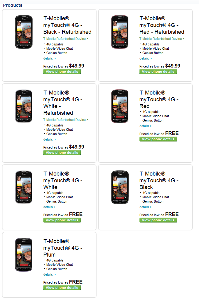t-mobile mytouch 4g - free
