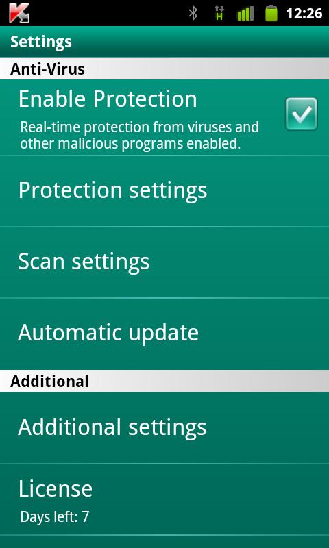 Приложение Kaspersky Mobile Security для Android.