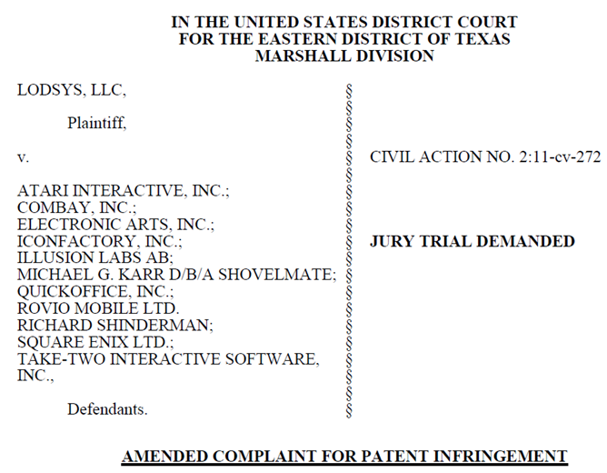 11-07-21 Lodsys amended complaint header