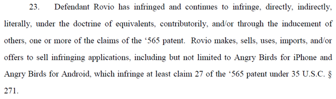 11-07-22 Lodsys allegations against Rovio