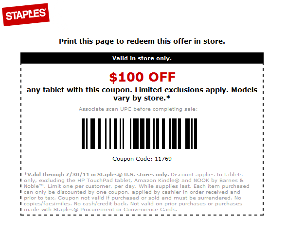 Deal Alert 100 Off Coupon For Any Tablet At Staples