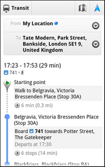 google maps public transport london