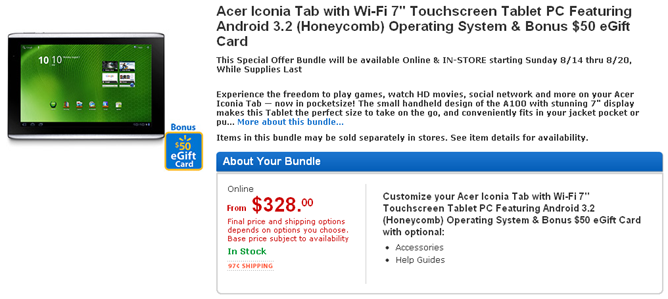 walmart iconia tab deal