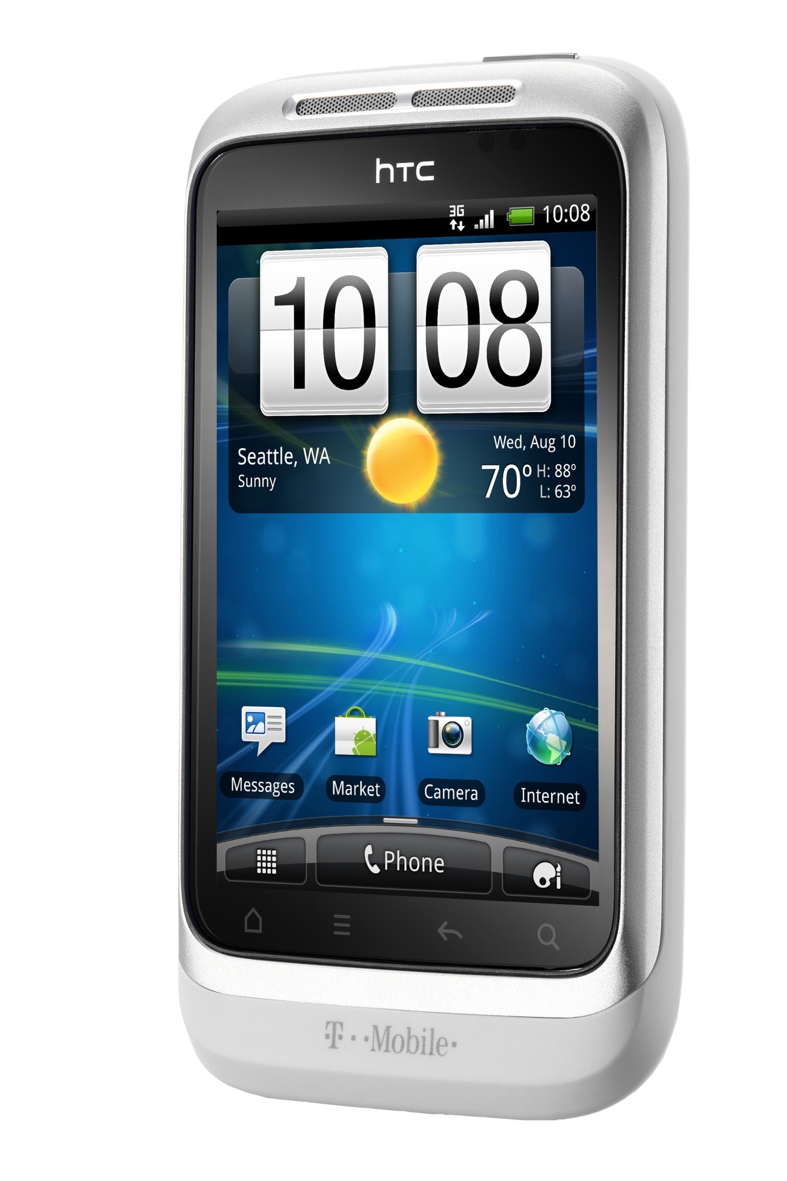 Virgin Mobile HTC Wildfire S in trendy Silver and White