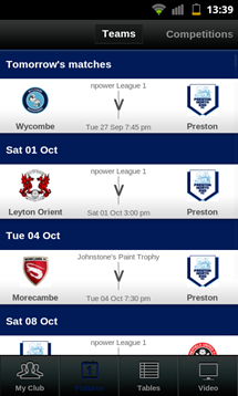 football league clubs app fixtures