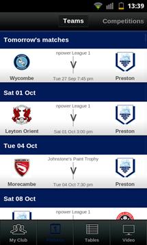football league clubs app fixtures