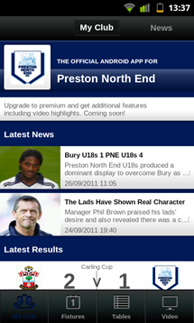 football league clubs app main screen