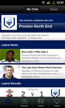 football league clubs app main screen